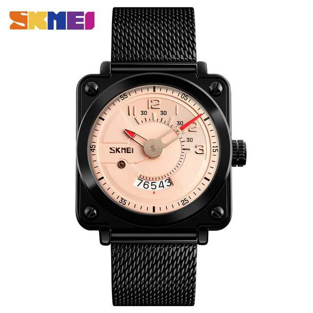 Jam Tangan Pria SKMEI Analog Casual Stainless Strap Original 9172CS Rose
