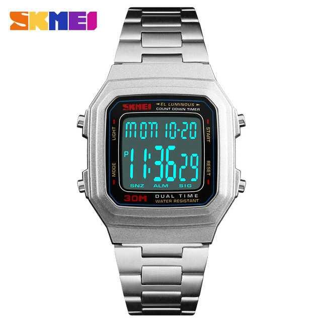 Jam Tangan Pria SKMEI Digital Casual Men Watch Original DG1337 Silver