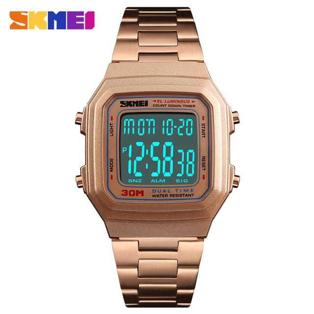 Jam Tangan Pria SKMEI Digital Casual Men Watch Original DG1337 Rose