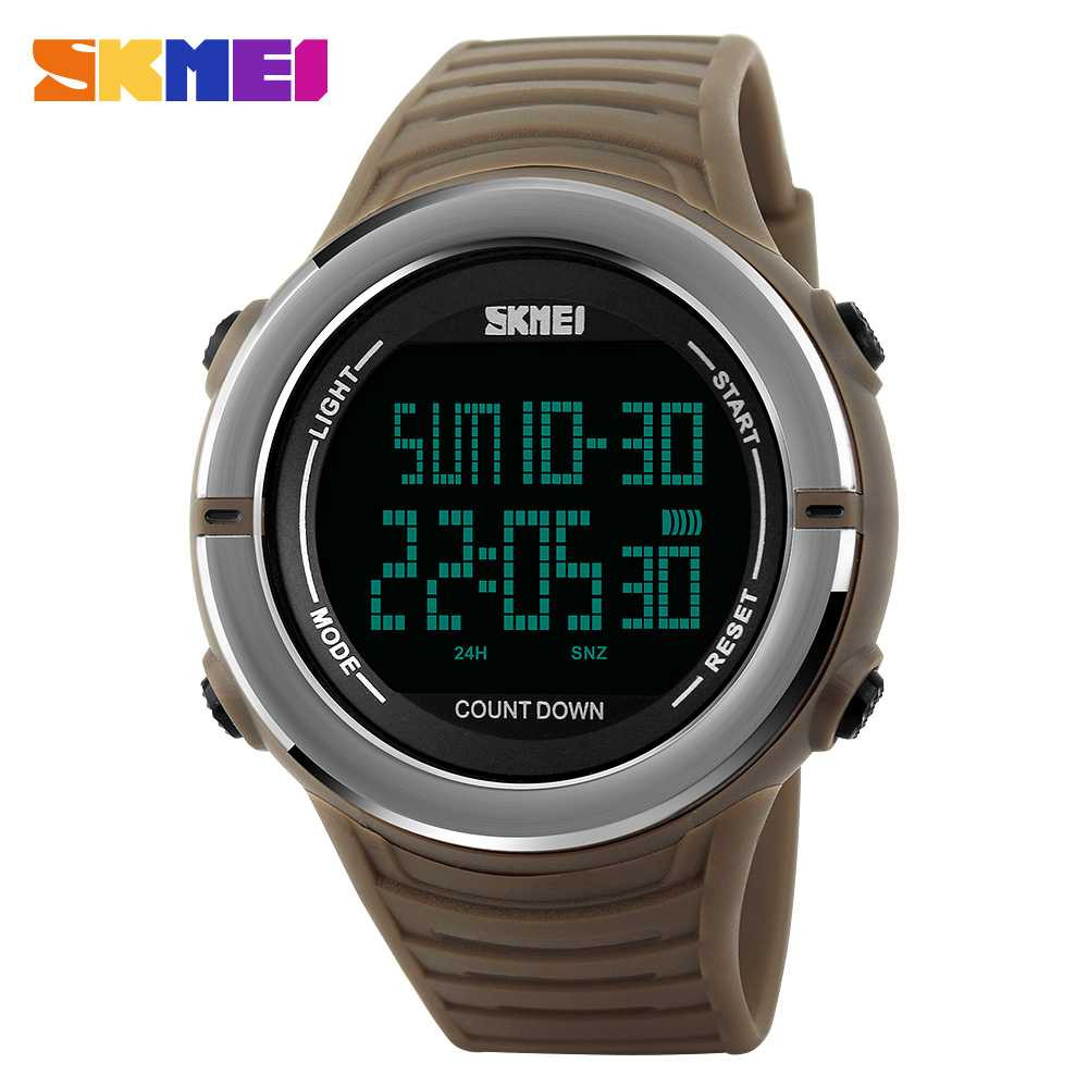 Jam Tangan Pria SKMEI Digital Casual Sporty LED Original 1209 Coklat