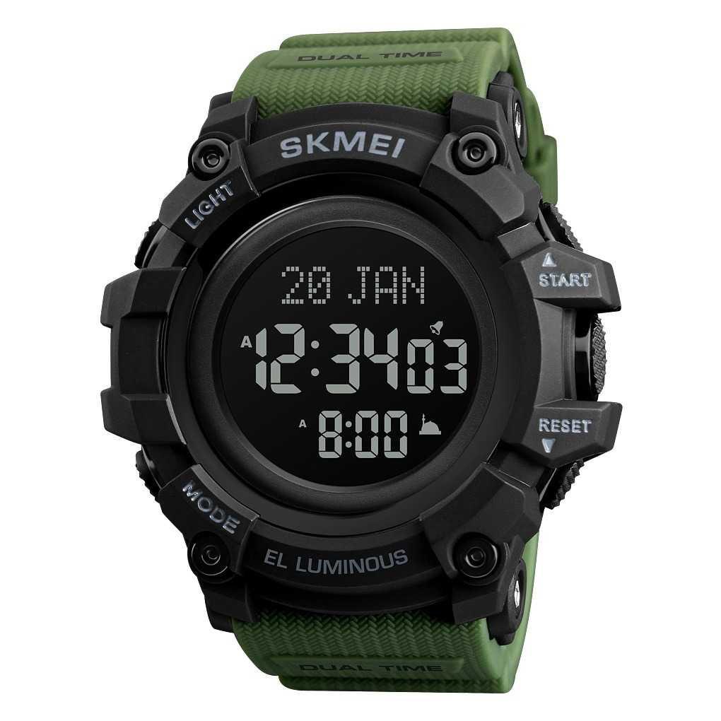 Jam Tangan Pria SKMEI Digital LED Arah Kiblat Original DG1680 Army