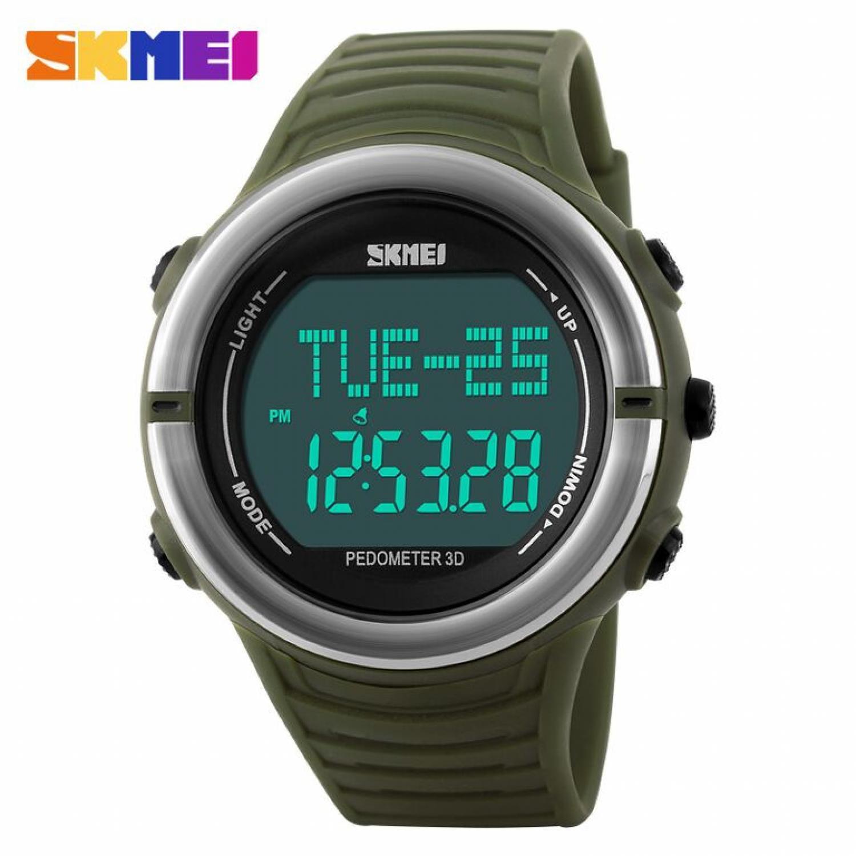 Jam Tangan Pria SKMEI Digital Pedometer Heart Rate Original DG1111HR Hijau
