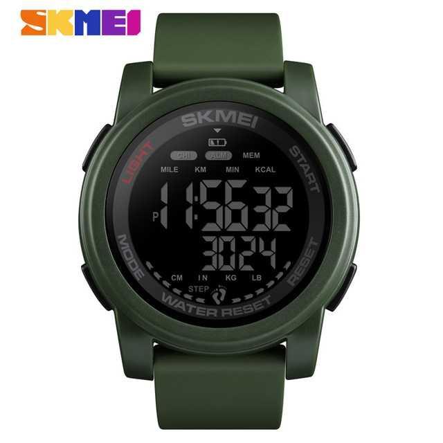 Jam Tangan Pria SKMEI Digital S-Shock Pedometer Kalori Sport Original DG1469 Army