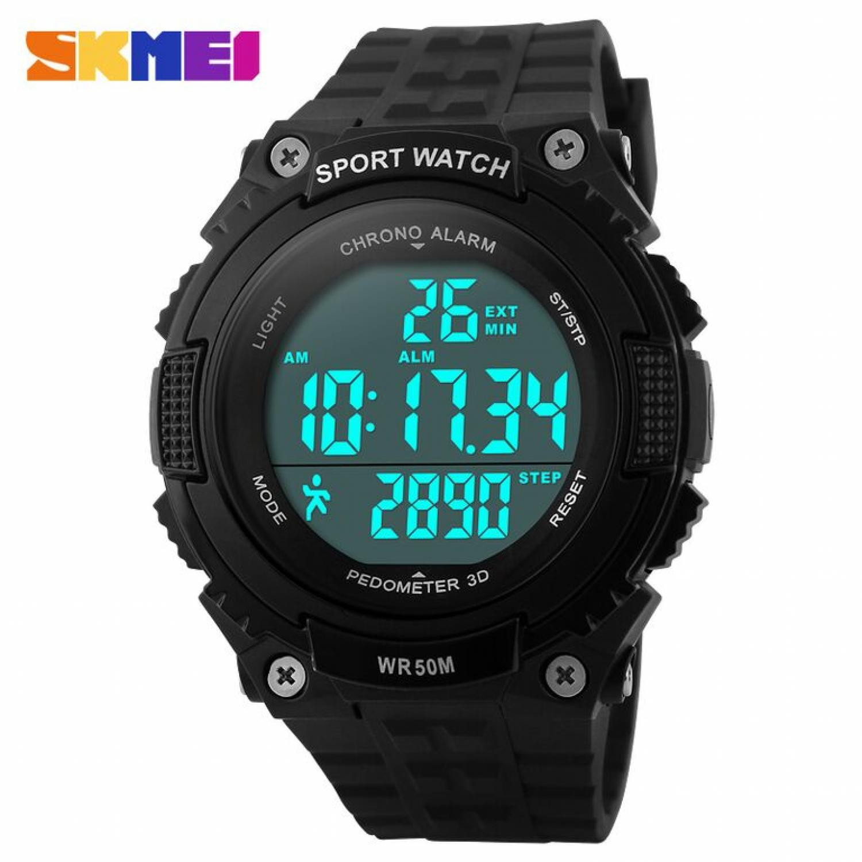Jam Tangan Pria SKMEI Digital S-Shock Pedometer Sport Original DG1112S Hitam