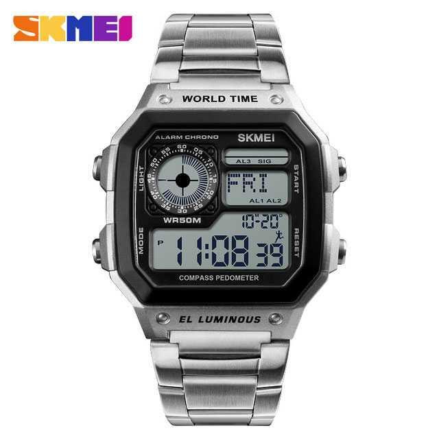 Jam Tangan Pria SKMEI Digital S-Shock Pedometer Kalori Sport Original DG1382 Silver