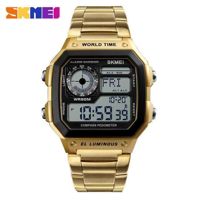 Jam Tangan Pria SKMEI Digital S-Shock Pedometer Kalori Sport Original DG1382 Gold