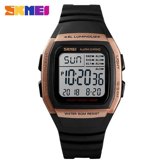 Jam Tangan Pria SKMEI Digital S-Shock Sport Watch Original DG1278 Gold