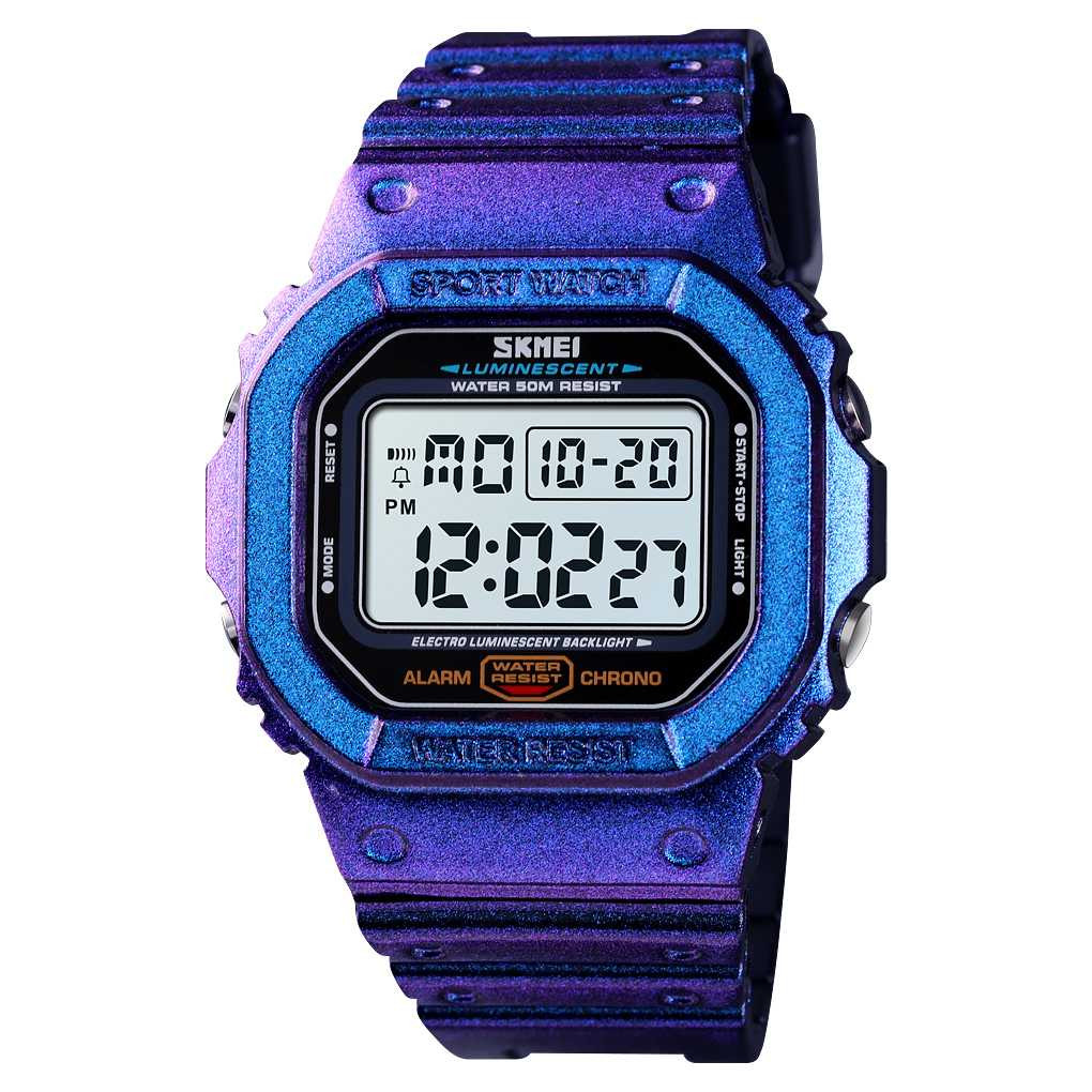 Jam Tangan Pria SKMEI Digital S-Shock Sport Watch Original DG1554 Ungu