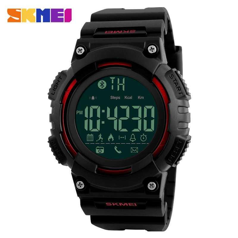 Jam Tangan Pria SKMEI Digital Smart Watch Bluetooth Original 1256 Merah