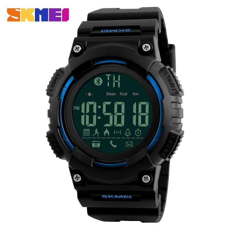 Jam Tangan Pria SKMEI Digital Smart Watch Bluetooth Original 1256 Biru