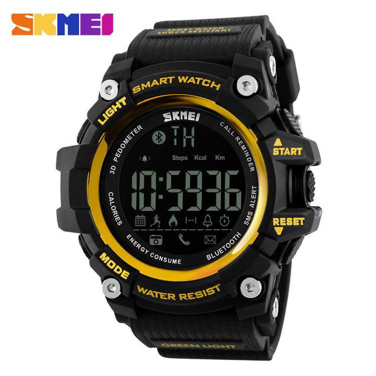 Jam Tangan Pria SKMEI Digital Smart Watch Bluetooth Original DG1227 Kuning
