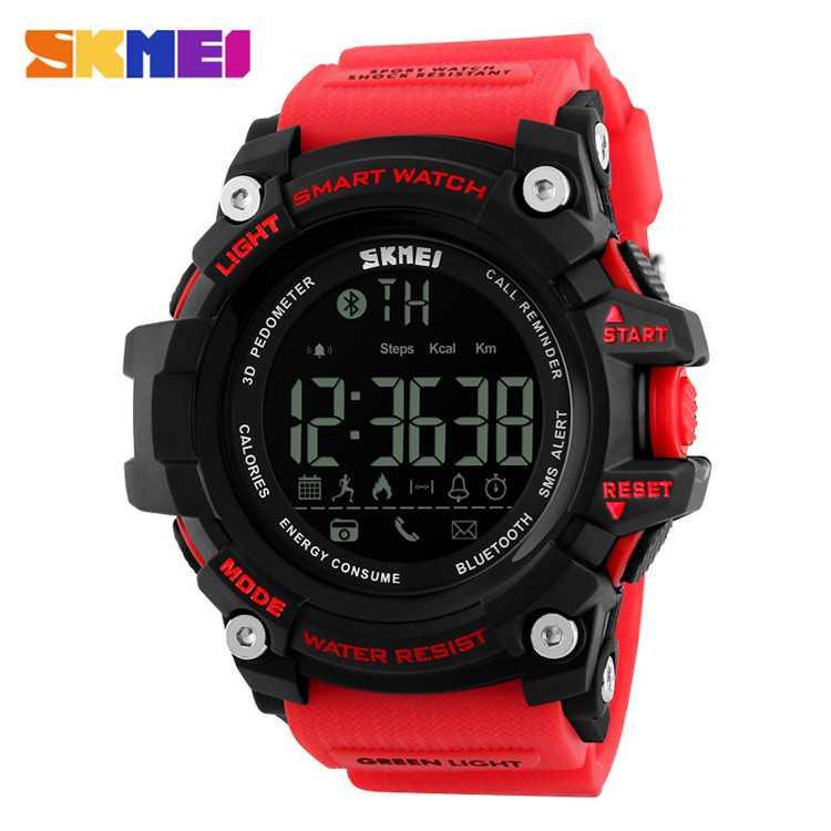 Jam Tangan Pria SKMEI Digital Smart Watch Bluetooth Original DG1227 Merah