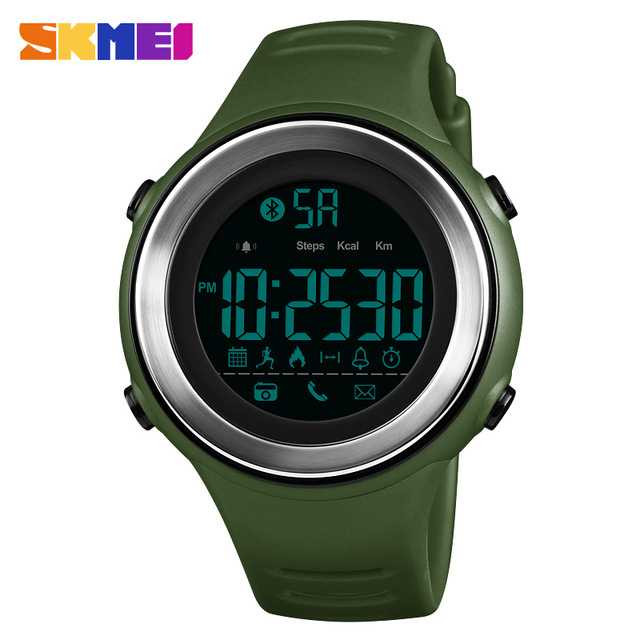 Jam Tangan Pria SKMEI Digital Smart Watch Bluetooth Original DG1396 Hijau