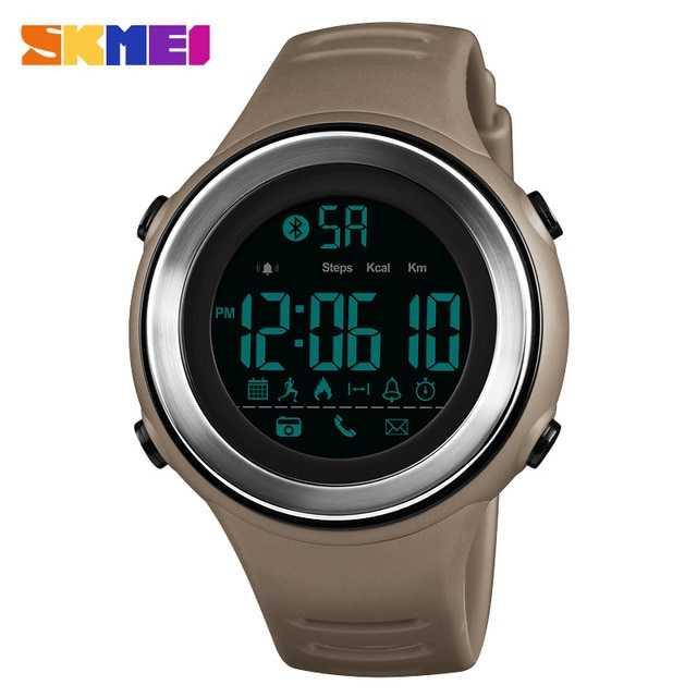 Jam Tangan Pria Smart Watch Bluetooth Original SKMEI DG1396 Coklat