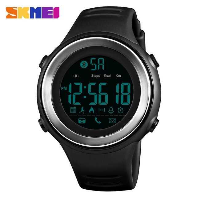 Jam Tangan Pria Smart Watch Bluetooth Original SKMEI DG1396 Silver