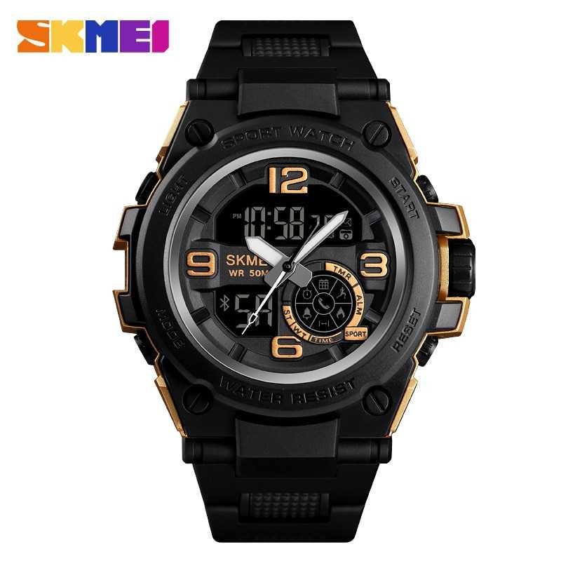 Jam Tangan Pria SKMEI Digital Smart Watch Bluetooth Original DG1517 Gold