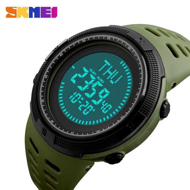 Jam Tangan Pria SKMEI Digital Sport LED Compass Original 1254 Hijau