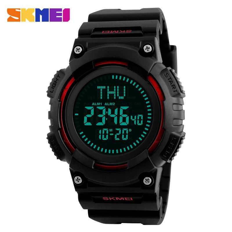 Jam Tangan Pria SKMEI Digital Sport LED Compass Original 1259 Merah