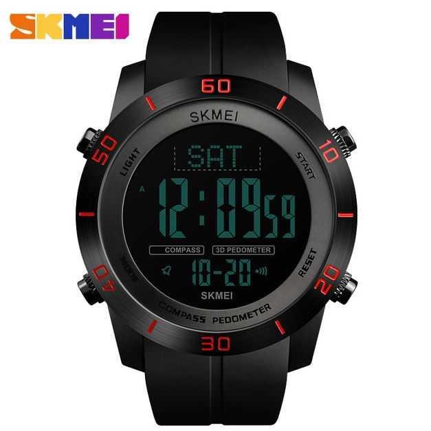 Jam Tangan Pria SKMEI Digital Sport LED Compass Pedometer Original DG1354 Merah