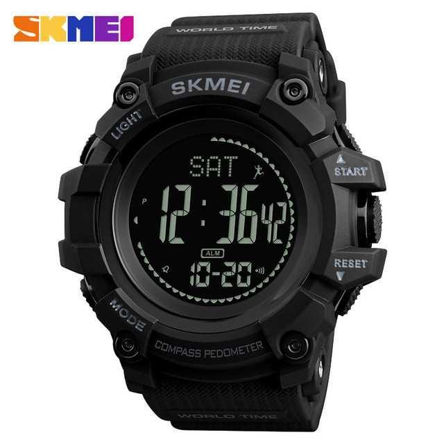 Jam Tangan Pria SKMEI Digital Sport LED Compass Pedometer Original DG1356