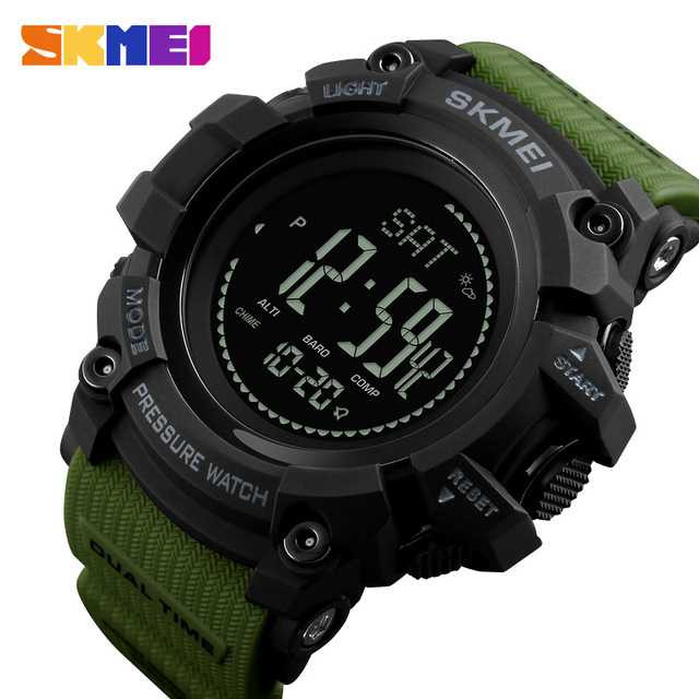 Jam Tangan Pria SKMEI Digital Sport LED Compass Pedometer Original DG1358 Army