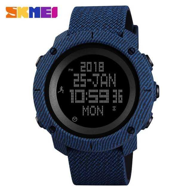 Jam Tangan Pria SKMEI Digital Sport LED Compass Pedometer Original DG1430 Biru