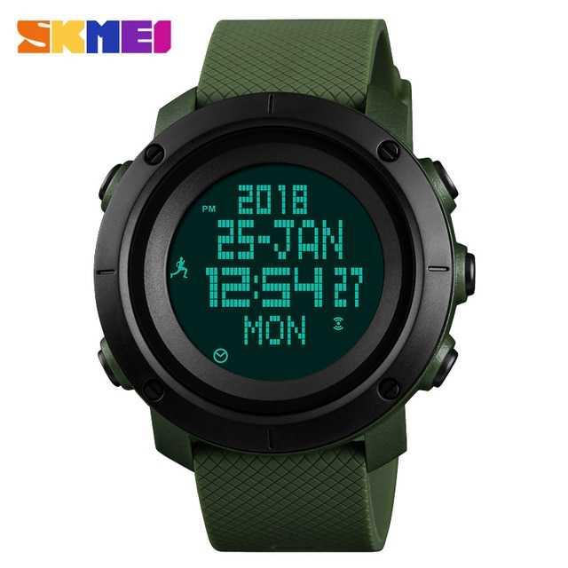 Jam Tangan Pria SKMEI Digital Sport LED Compass Pedometer Original DG1430 Hijau