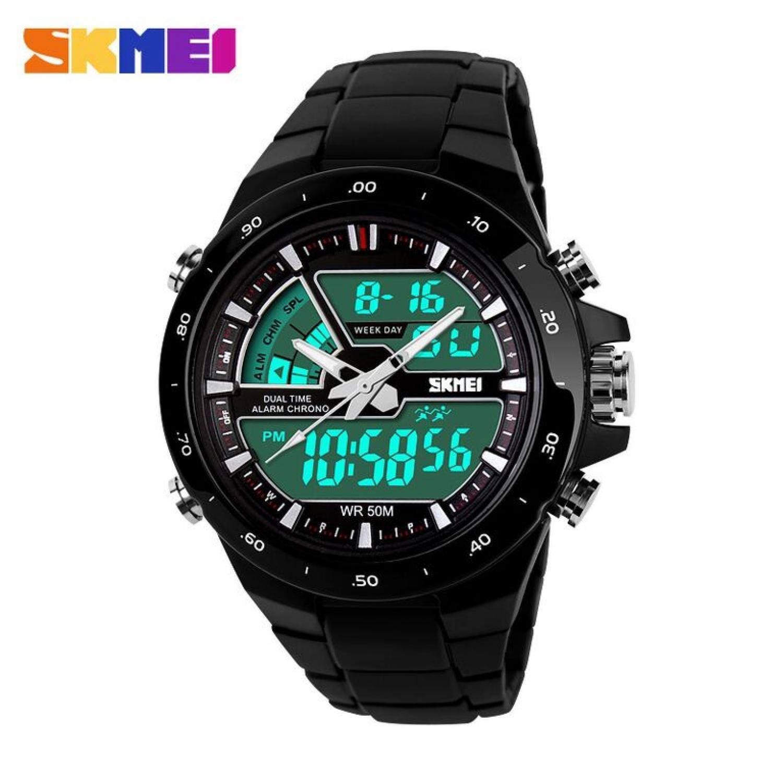 Jam Tangan Pria SKMEI Dual Time Casio Men Original AD1016 Hitam