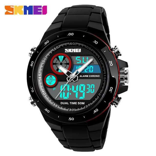 Jam Tangan Pria SKMEI Dual Time Casio Men Original AD1429 Merah