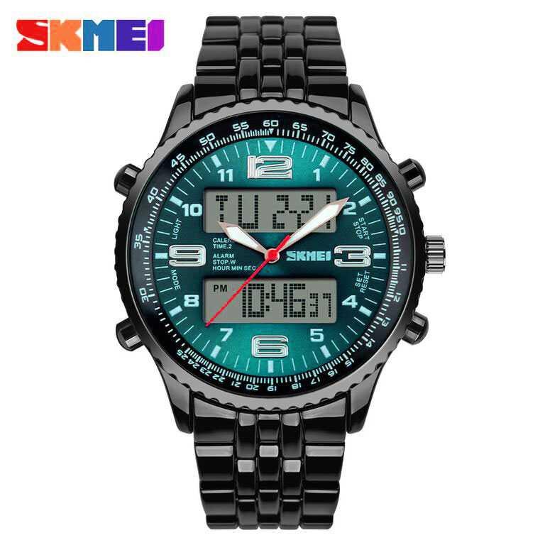 Jam Tangan Pria SKMEI Dual Time Casio Men Sport LED Original AD1032 Hijau