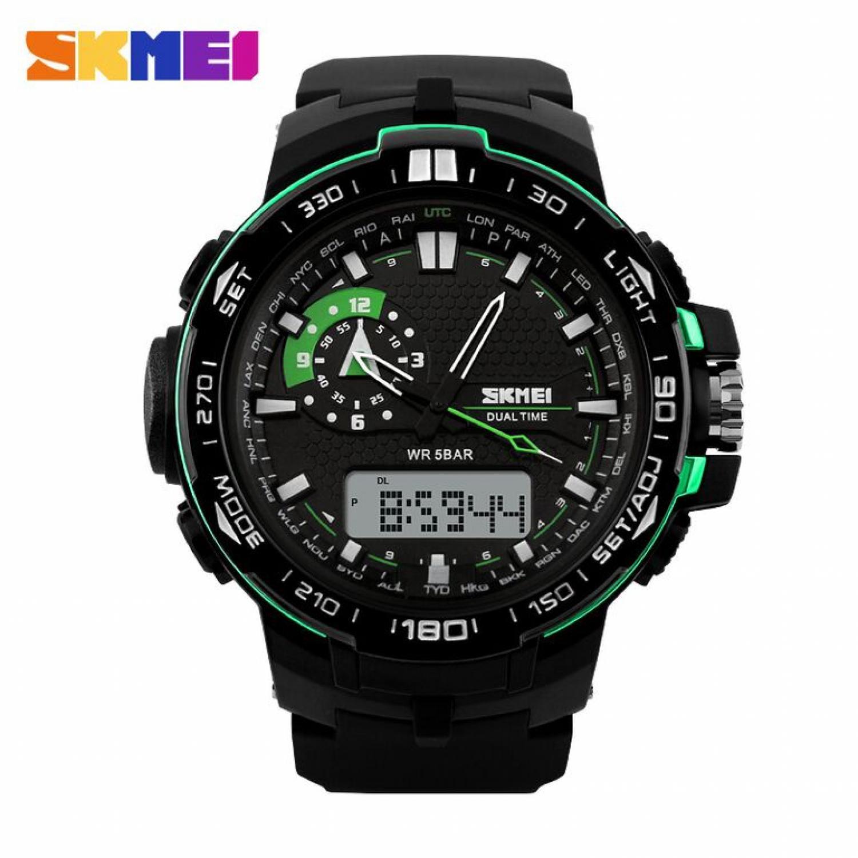 Jam Tangan Pria SKMEI Dual Time Casio Men Sport LED Original AD1081 Hijau