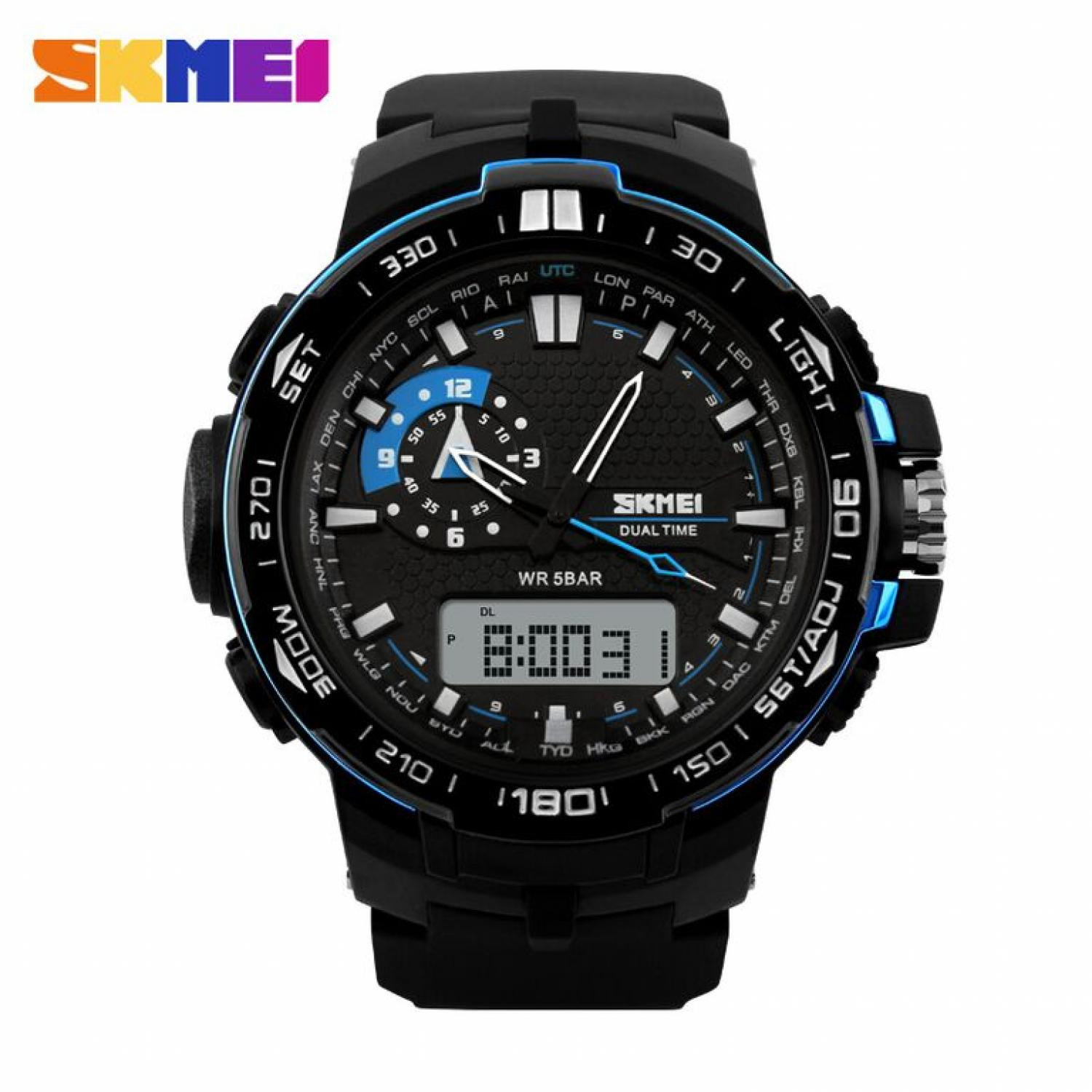 Jam Tangan Pria SKMEI Dual Time Casio Men Sport LED Original AD1081
