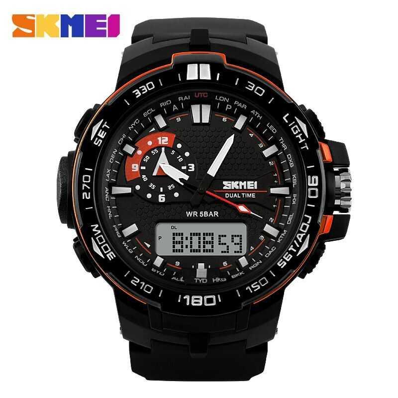 Jam Tangan Pria SKMEI Dual Time Casio Men Sport LED Original AD1081 Orange