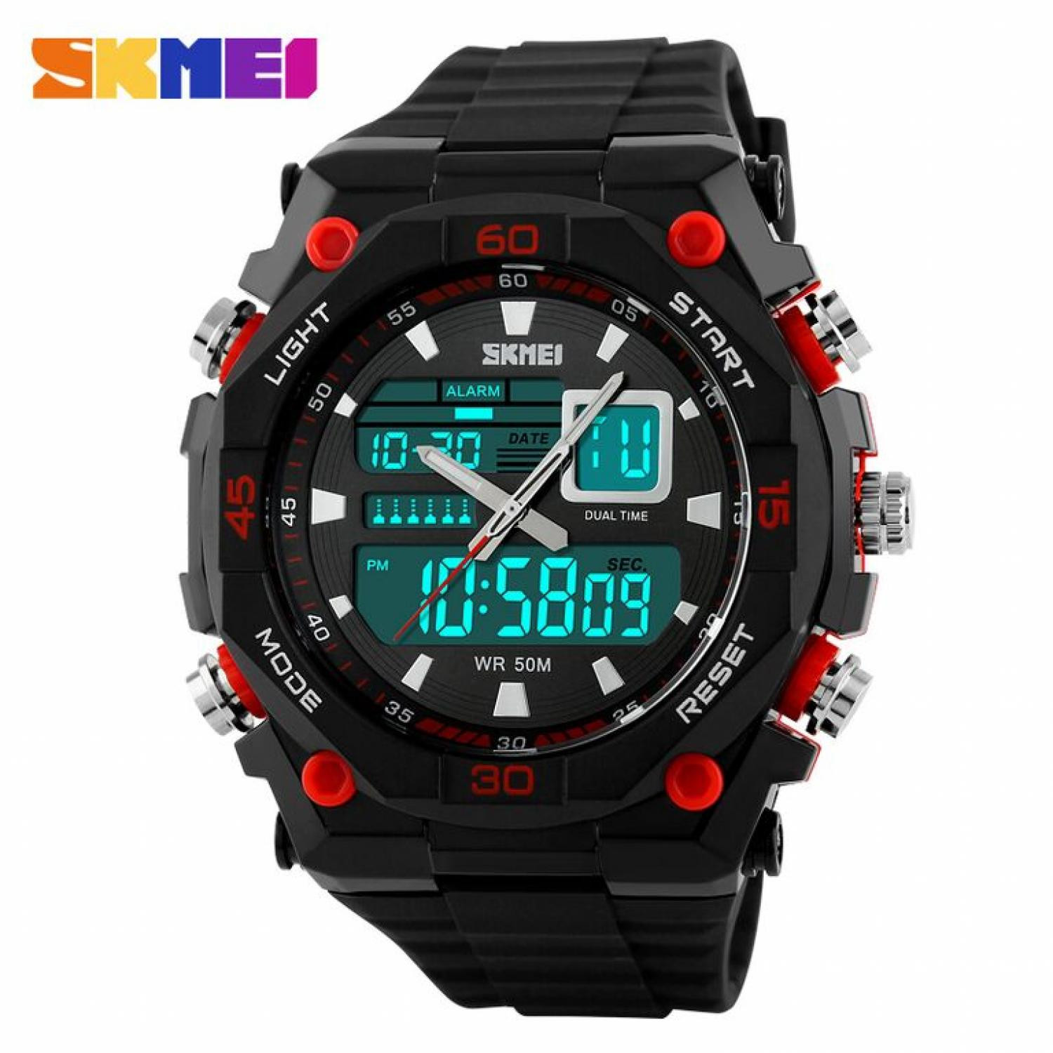 Jam Tangan Pria SKMEI Dual Time Casio Men Sport LED Original AD1092 Merah