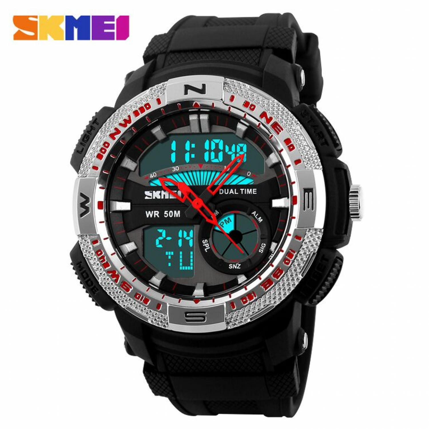 Jam Tangan Pria SKMEI Dual Time Casio Men Sport LED Original AD1109