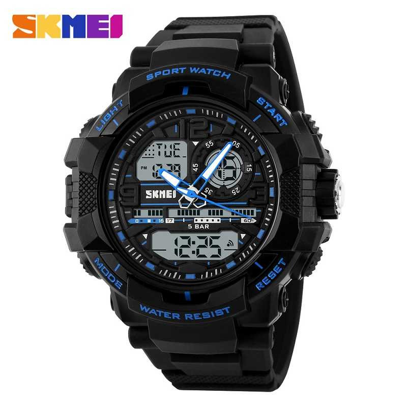 Jam Tangan Pria SKMEI Dual Time Casio Men Sport LED Original AD1164 Biru