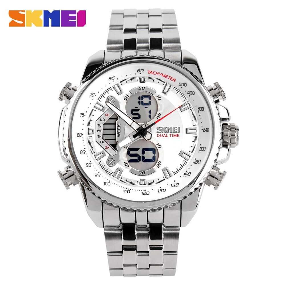 Jam Tangan Pria SKMEI Dual Time Casio Men Sport Original AD0993 Putih