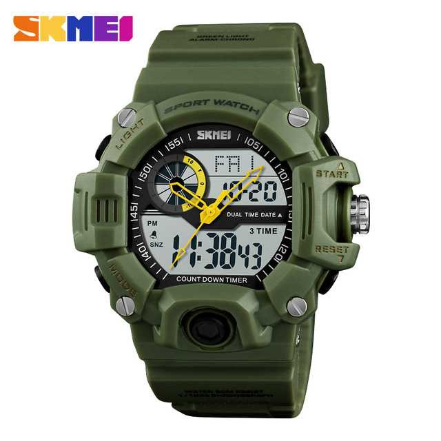 Jam Tangan Pria SKMEI Dual Time Casio Men Sport Original AD1331 Army
