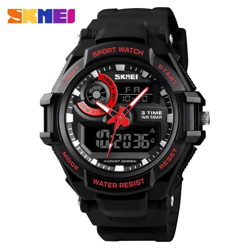 Jam Tangan Pria Dual Time Original SKMEI AD1357 Merah