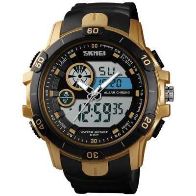 Jam Tangan Pria SKMEI Dual Time Casio Men Sport Original AD1428 Gold
