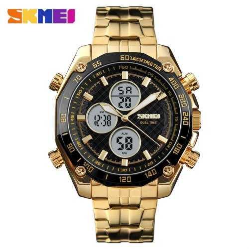 Jam Tangan Pria SKMEI Dual Time Casual Men Stainless Original AD1302 Gold