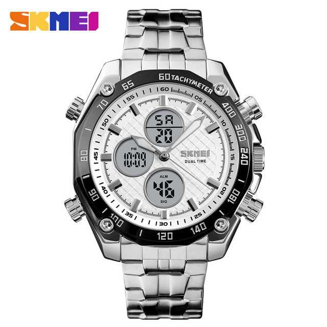 Jam Tangan Pria SKMEI Dual Time Casual Men Stainless Original AD1302 Putih