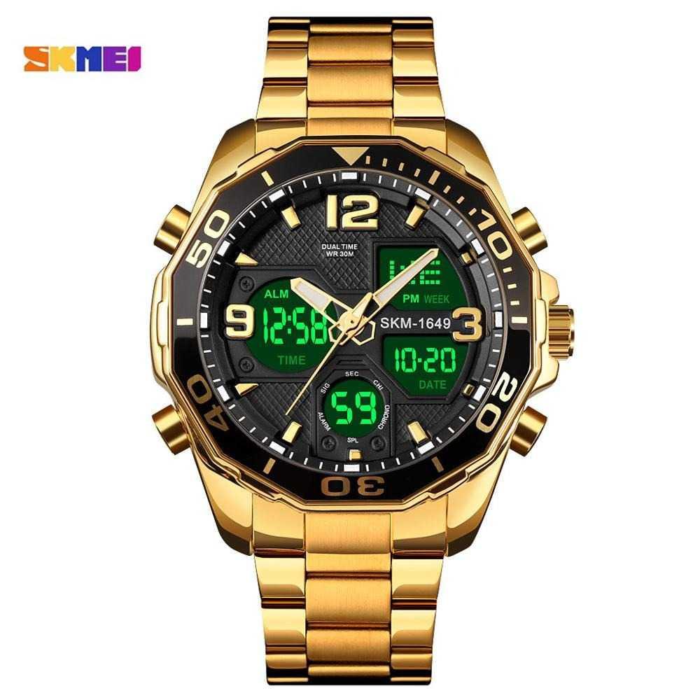 Jam Tangan Pria Dual Time Stainless Original SKMEI AD1649 Gold