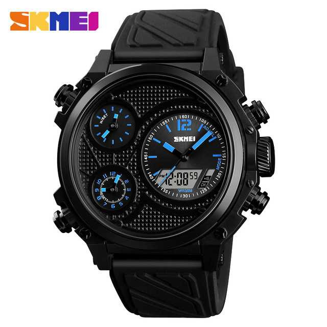 Jam Tangan Pria SKMEI Dual Time Jumbo Watch Original AD1359 Biru