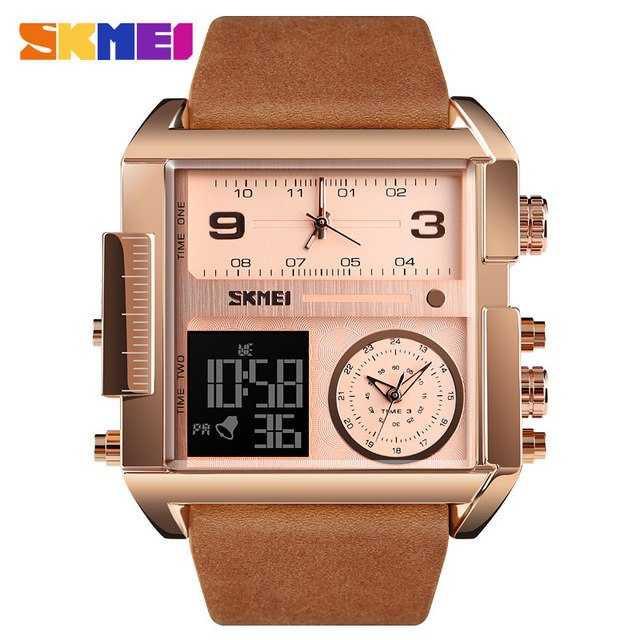 Jam Tangan Pria SKMEI Dual Time Jumbo Watch Original AD1391 Rose