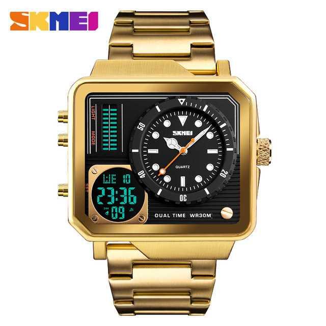 Jam Tangan Pria SKMEI Dual Time Jumbo Watch Original AD1392 Gold