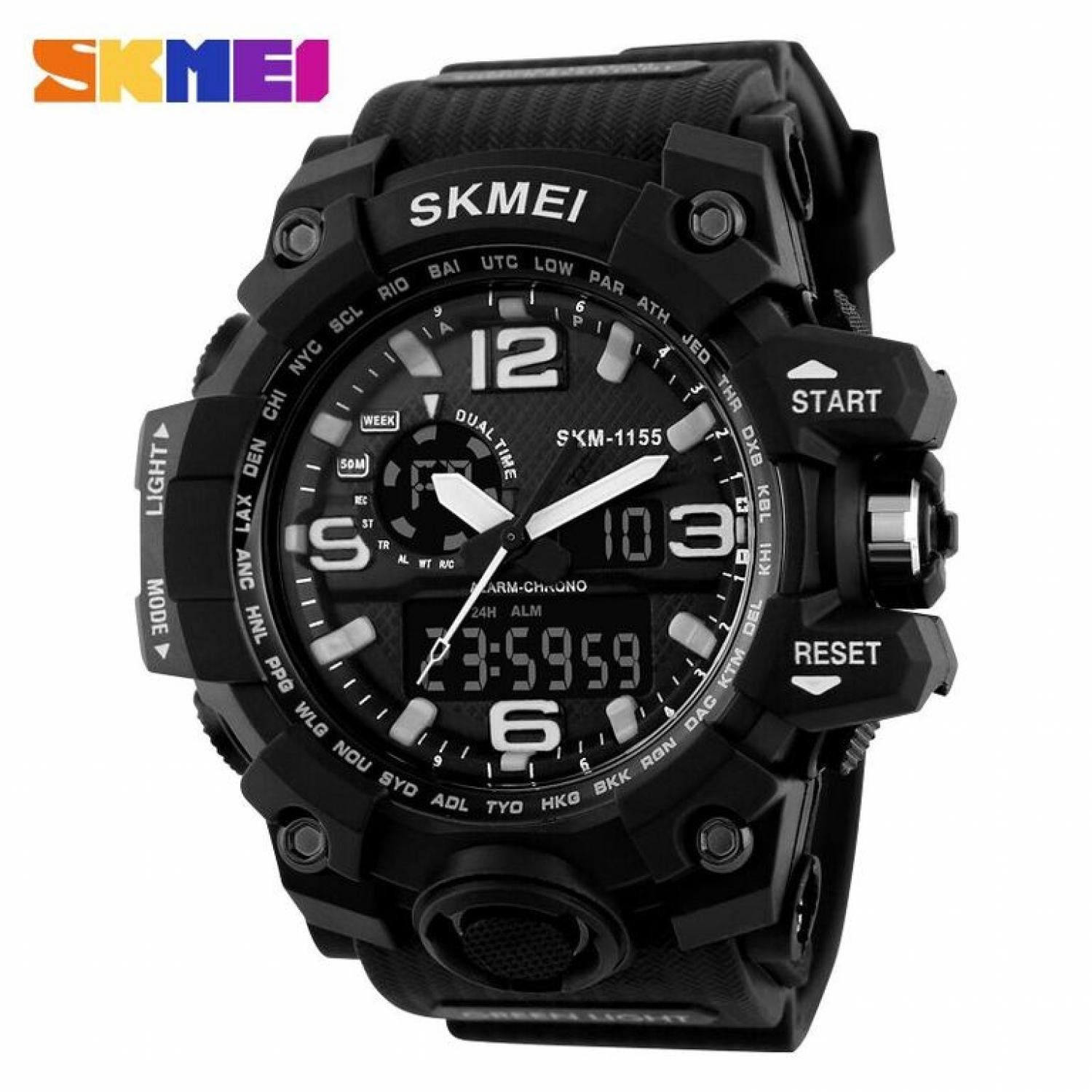 Jam Tangan Pria SKMEI Dual Time Men Sport LED Original AD1155