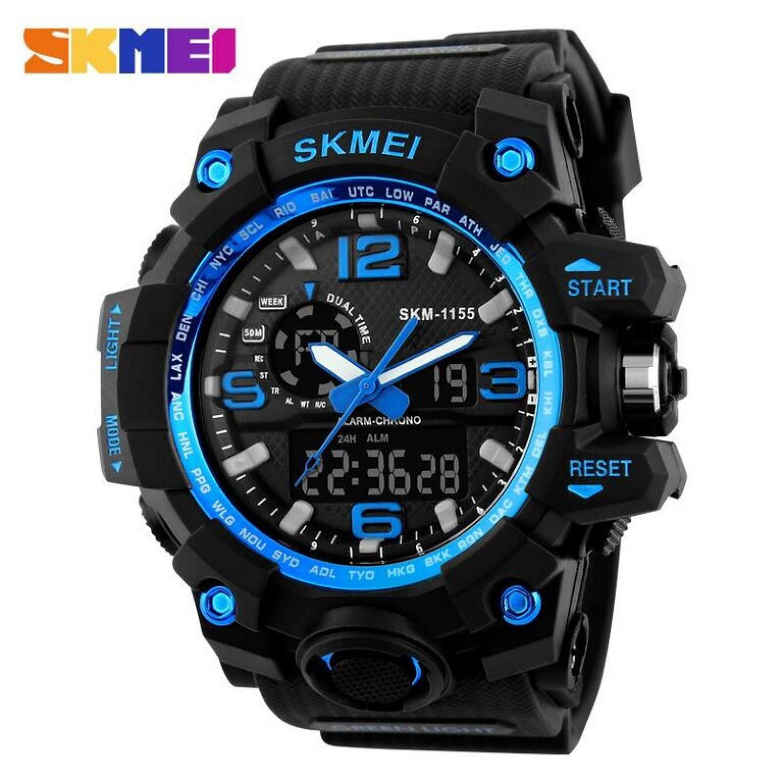 Jam Tangan Pria SKMEI Dual Time Men Sport LED Original AD1155 Biru