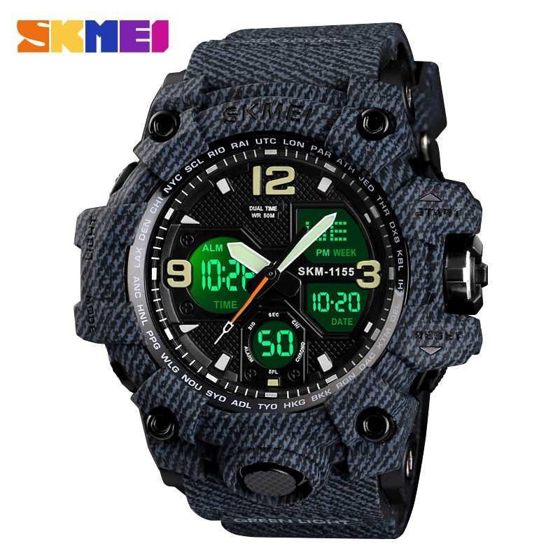 Jam Tangan Pria SKMEI Dual Time Men Sport LED Original AD1155 Denim