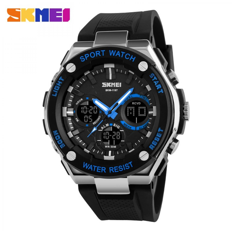 Jam Tangan Pria SKMEI Dual Time Men Sport LED Original AD1187 Biru